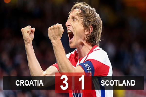 Kết quả Croatia 3-1 Scotland: Nguồn cảm hứng mang tên Modric